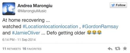 Последний твит Андреа Маронгиу. Andrea Marongiu last twit.