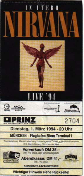 1 марта в истории рока - последний концерт группы Nirvana билет