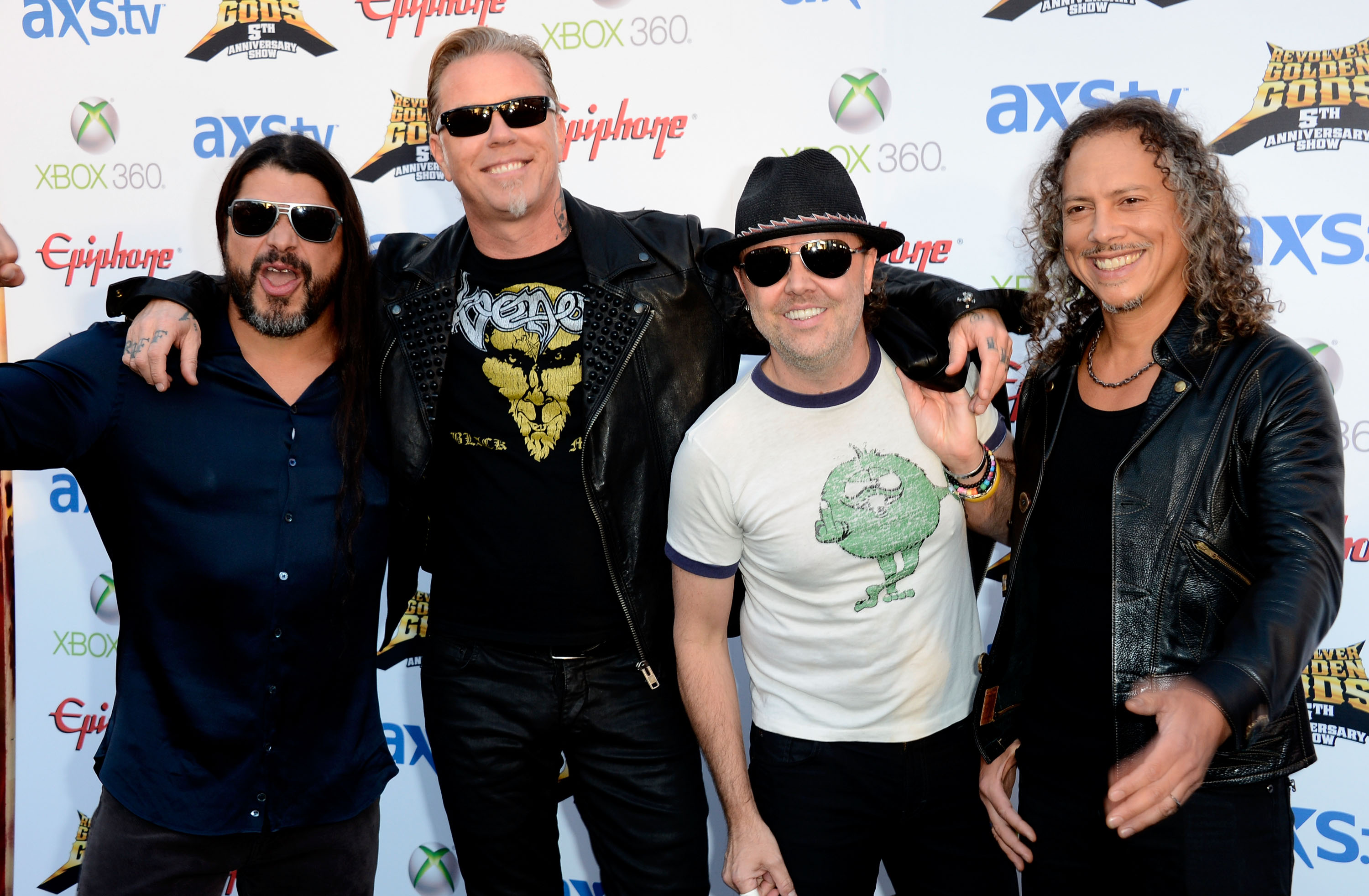 LOS ANGELES, CA - MAY 02:  Metallica (L-R) Robert Trujillo, James Hetfield, Lars Ulrich, Kirk Hammett arrive at the 5th Annual Revolver Golden Gods Award Show  at Club Nokia on May 2, 2013 in Los Angeles, California.  (Photo by Frazer Harrison/Getty Images)