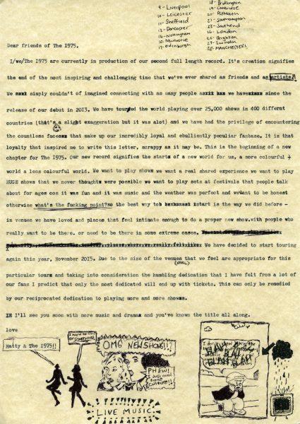 The1975_Tour Letter