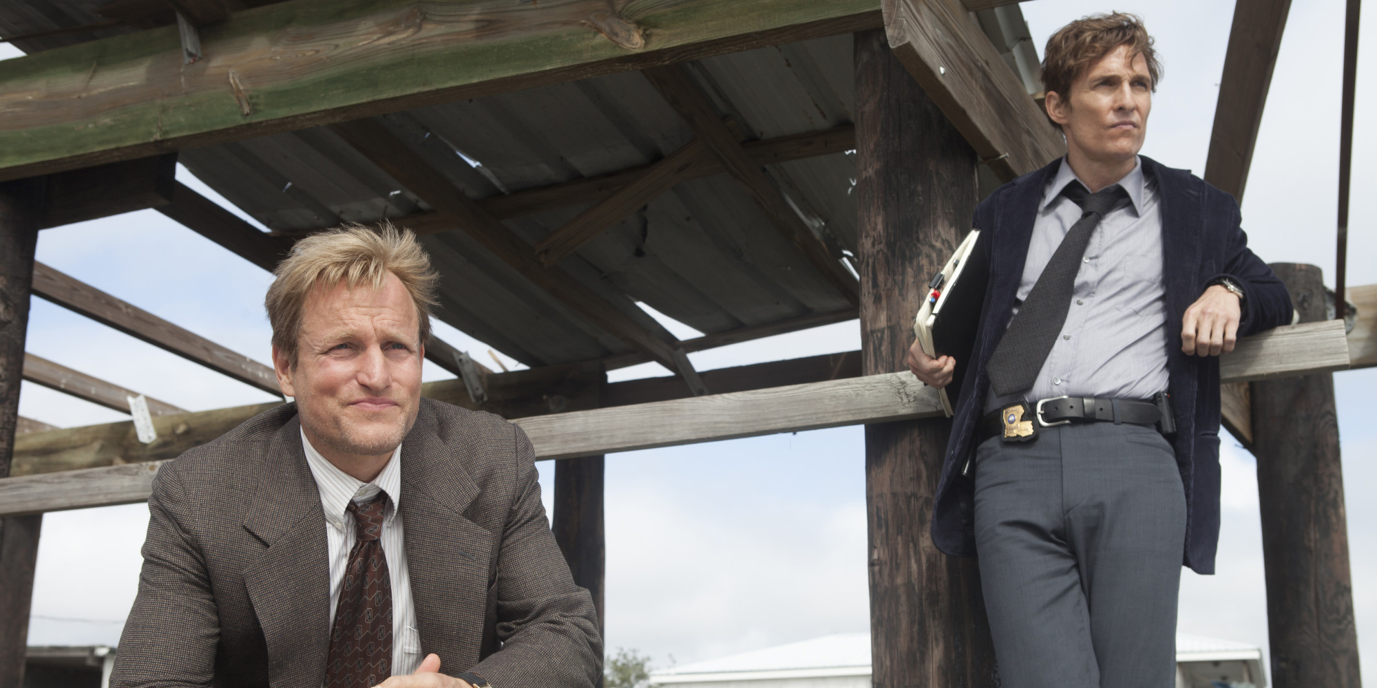 "SCENE 3.41 / Exterior Flatboat (1995) - Cohle and Marty question Henry Oliver about his daughters death. / Photo: Jim Bridges/HBO  HBO's ""True Detective"" Season 1  Director: Cary Fukunaga  Matthew McConaughey: Rustin Cohle Woody Harrelson:  Martin Hart Ritchie Montgomery: Henry Oliver"