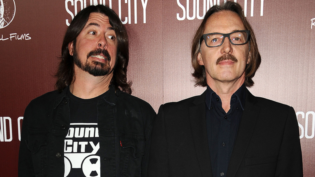 "HOLLYWOOD, CA - JANUARY 31:  Dave Grohl and Butch Vig attend the premiere of ""Sound City"" at ArcLight Cinemas Cinerama Dome on January 31, 2013 in Hollywood, California.  (Photo by Jason LaVeris/FilmMagic)"