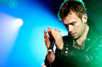 "Singer Damon Albarn - also known as frontman of the band Blur - of the British band Gorillaz performs live during a concert at the Velodrom in Berlin, Germany on November 21, 2010. The concert is part of the ""Escape to Plastic Beach World Tour 2010"" and promotes the current album ""Plastic Beach"".  Photo: Monique Wuestenhagen"