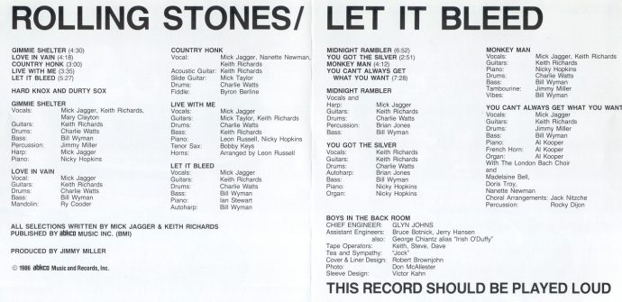 rolling stones let it bleed cover setlist сетлист обложка список песен