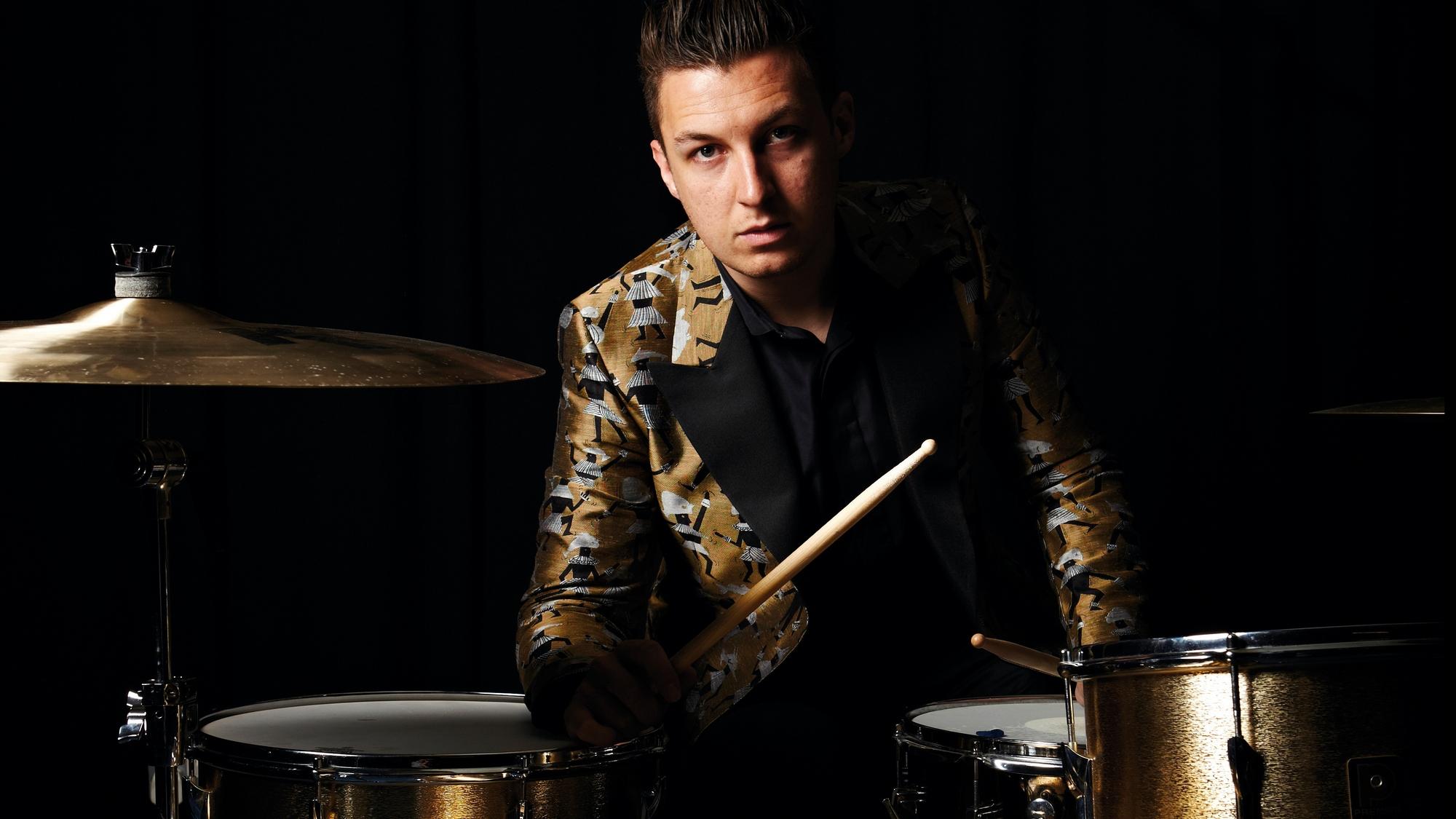 Matt Helders, Drummer arctic Monkeys. At John Henrys studio. Portraits against black inside and outside.